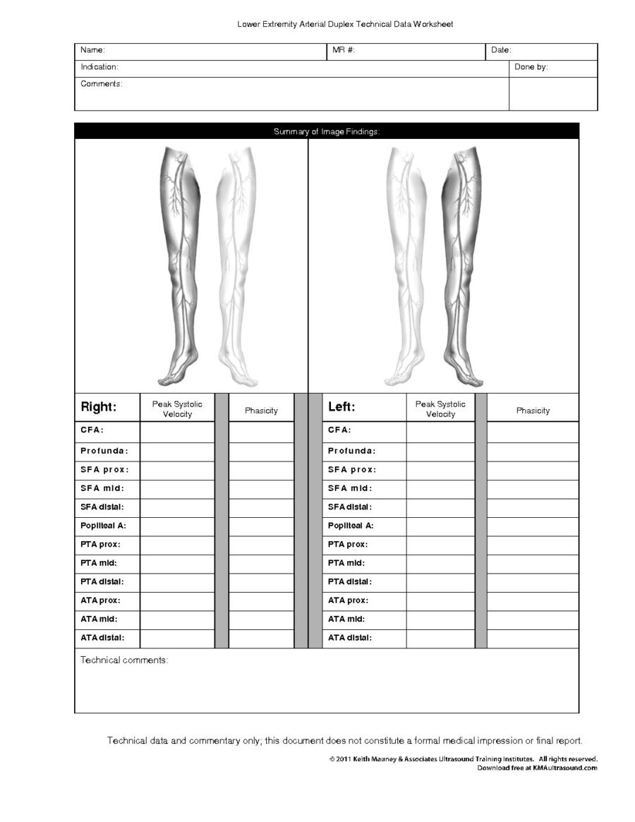 Lower Extremity Duplex Arterial Data Collection Worksheet