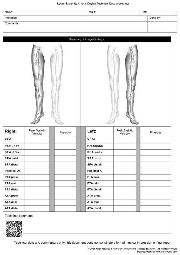 LE Arterial Duplex Ultrasound Worksheet