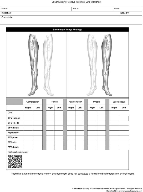Lower Extremity Venous Duplex Data Collection Worksheet